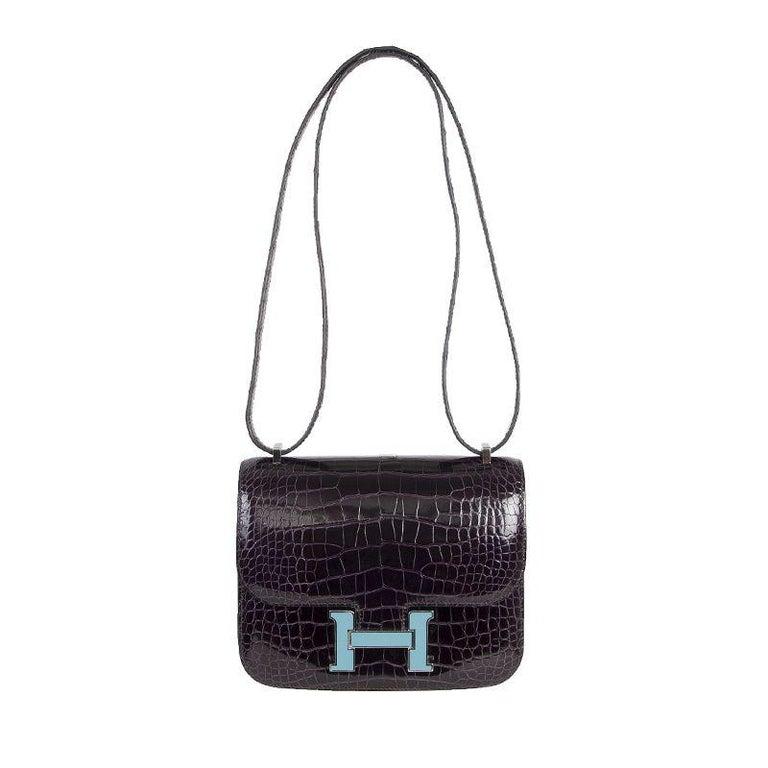 HERMES Cassis Shiny Crocodile LTD ED Enamel H CONSTANCE 18 Shoulder Bag For Sale