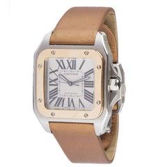 CARTIER stainless steel & 18k Rose Gold SANTOS 100 Watch