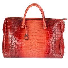 BOTTEGA VENETA red CROCODILE GLACE FLANNEL Bag