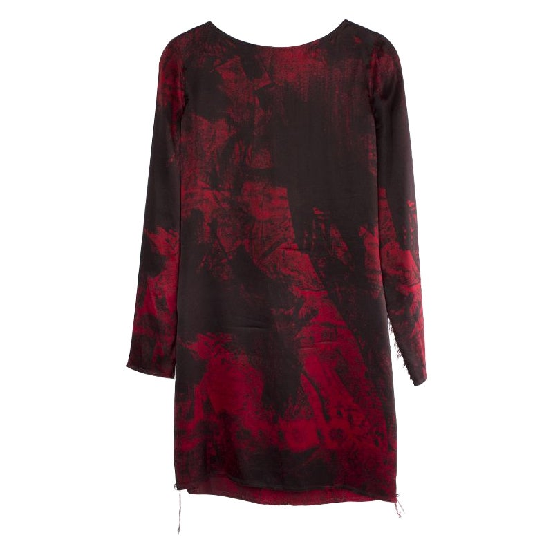 BALMAIN black & red silk FRAYED HEM Long Sleeve Cocktail Dress 36