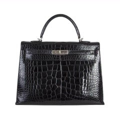 HERMES black Alligator Crocodile KELLY II 35 SELLIER Bag