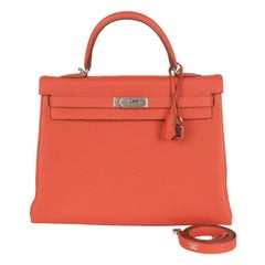 HERMES Capucine red Togo KELLY II 35 RETOURNER Bag