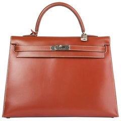 HERMES Brique red Box KELLY II 35 SELLIER Bag