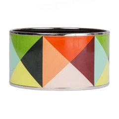 HERMES multicolor enamel XL CLOUS EN TROMPE Bangle Bracelet