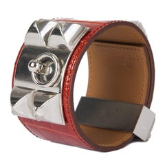 HERMES Sanguine red CROCODILE & Palladium COLLIER DE CHIEN Cuff Bracelet