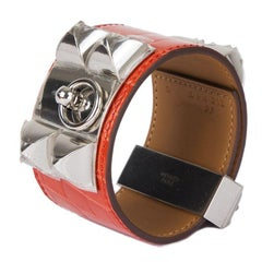 HERMES Rouge Indien red CROCODILE & Palladium COLLIER DE CHIEN Cuff Bracelet
