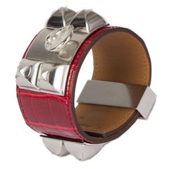 HERMES Rouge Braise red CROCODILE & Palladium COLLIER DE CHIEN Cuff Bracelet