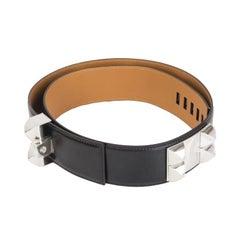 HERMES black Box leather & Palladium COLLIER DE CHIEN Belt 90