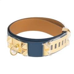 HERMES Bleu Thalassa blue Epsom leather & Gold COLLIER DE CHIEN Belt 95