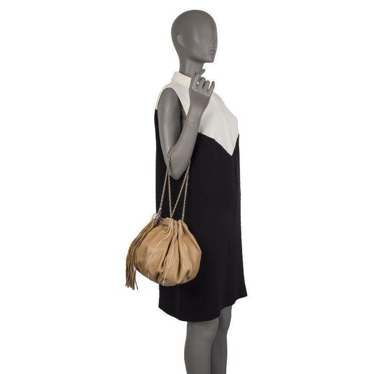 1310c3bb148a Chanel beige leather & white satin REVERSIBLE TASSEL SMALL BUCKET Bag For  Sale 5