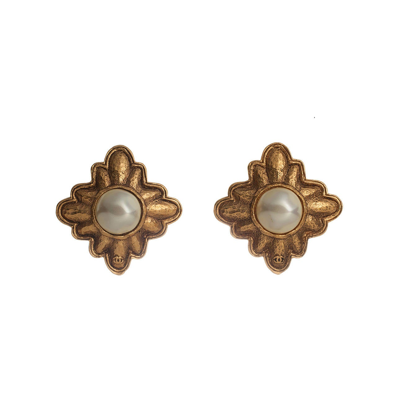 vintage chanel earrings with gripoix pearls for sale at