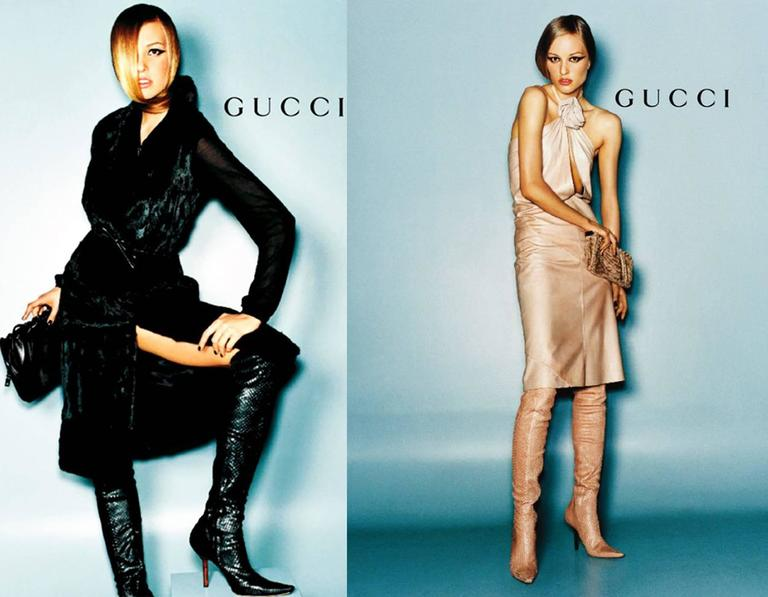 Tom Ford for Gucci lizard skin over-the-knee boots from the Autumn/Winter 1999 runway collection. The boots feature a wooden heel, pointed toe and side zipper.  EU 35.5 - US 7 - UK 4.5   Brand new - unworn