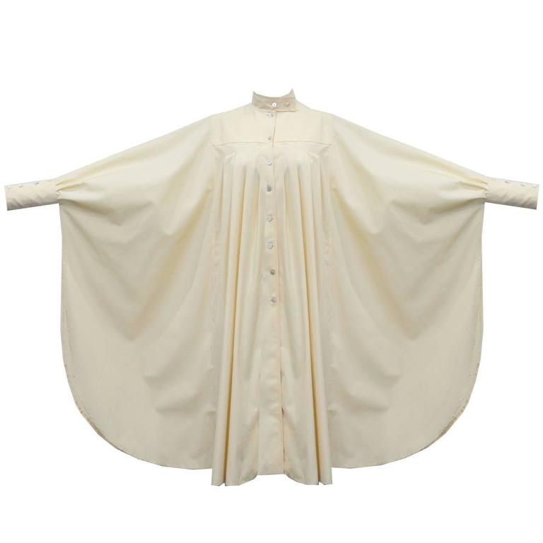 Women's Bill Gibb ivory pleated opera coat, c. 1970s For Sale