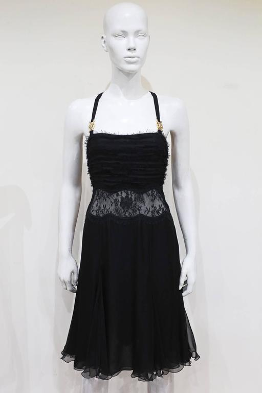 Versace bondage medusa harness evening dress with sheer lace panel, c. 2000s 2