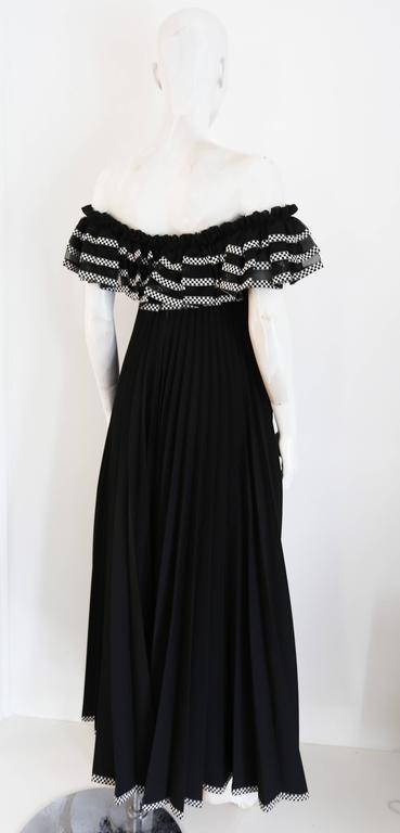 Black Jean Varon off the shoulder pleated empire evening gown, c. 1970s For Sale