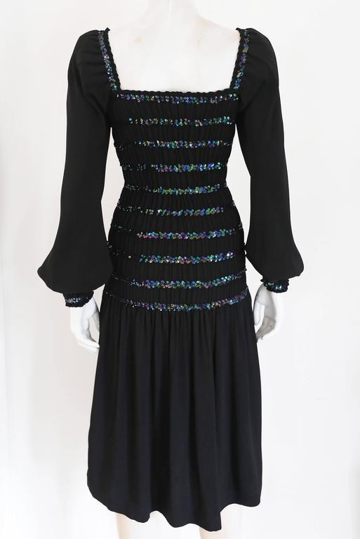 Yves Saint Laurent smocked black evening dress with sequins, c. 1976-77 In Excellent Condition For Sale In London, GB