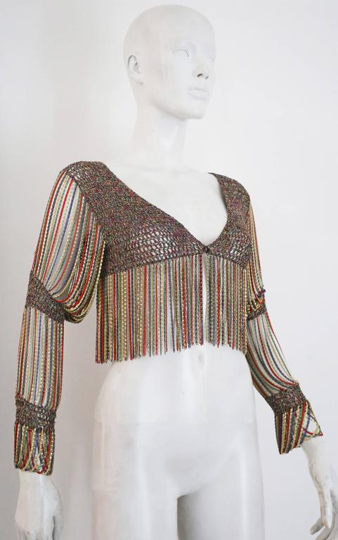 Loris Azzaro knitted cropped cardigan with chain mail sleeves and trim, c. 1970s 2