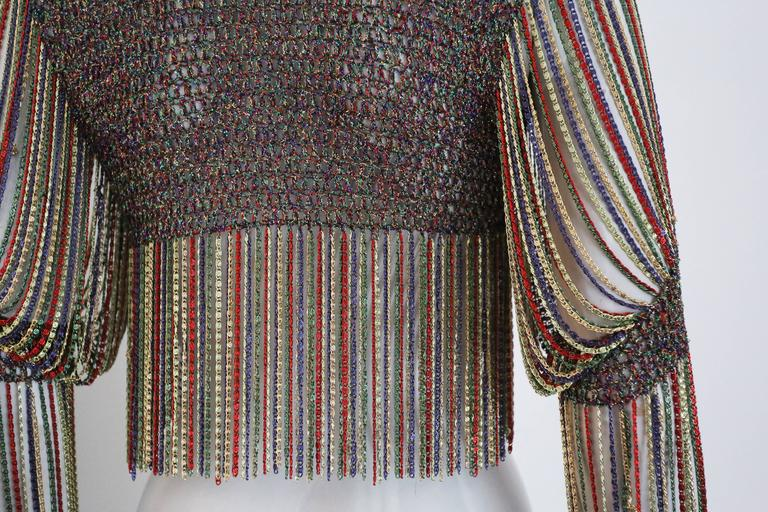 Loris Azzaro knitted cropped cardigan with chain mail sleeves and trim, c. 1970s 6