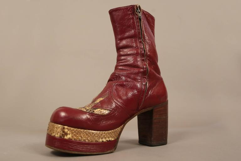 Mens Burgundy Leather Platform Boots With Snakeskin C