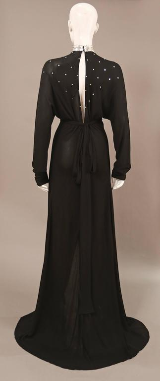 Ossie Clark black jersey sequinned evening wrap dress with train, C. 1978 3