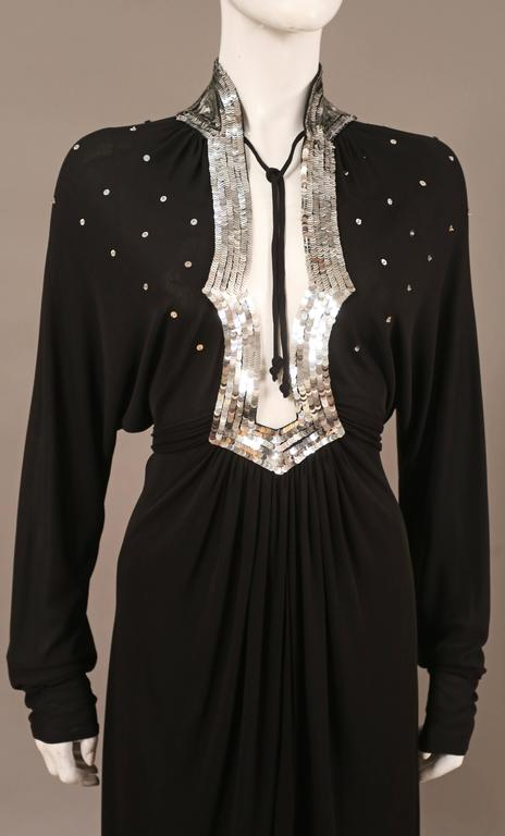 Ossie Clark black jersey sequinned evening wrap dress with train, C. 1978 4