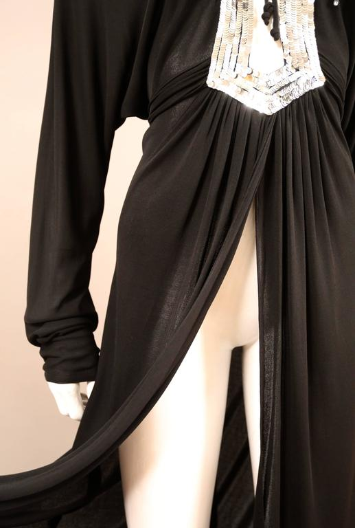 Ossie Clark black jersey sequinned evening wrap dress with train, C. 1978 5