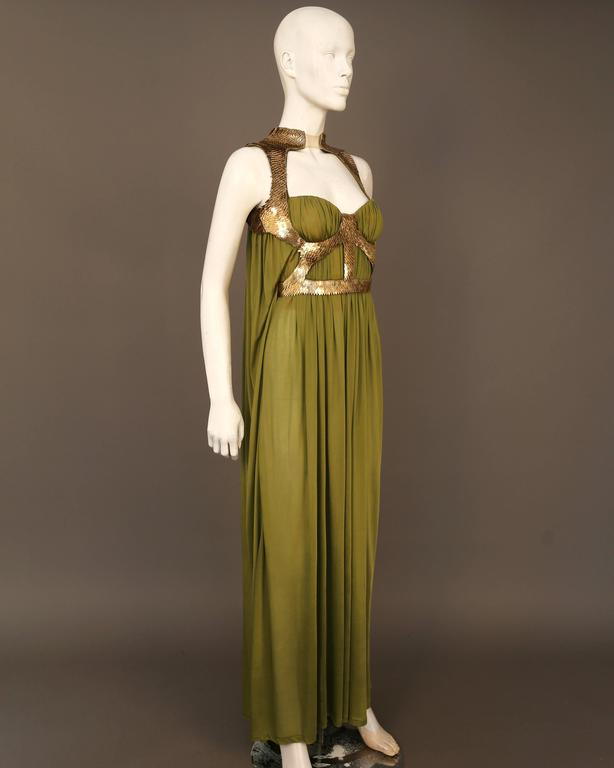 Alexander McQueen olive green evening dress with metal scale harness, SS 2007 6