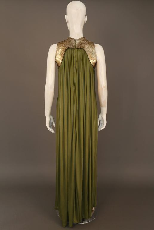 Alexander McQueen olive green evening dress with metal scale harness, SS 2007 5