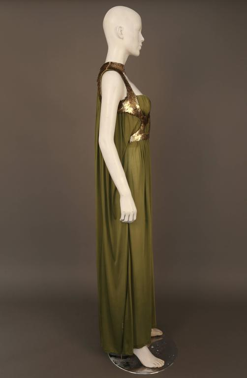 Alexander McQueen olive green evening dress with metal scale harness, SS 2007 3