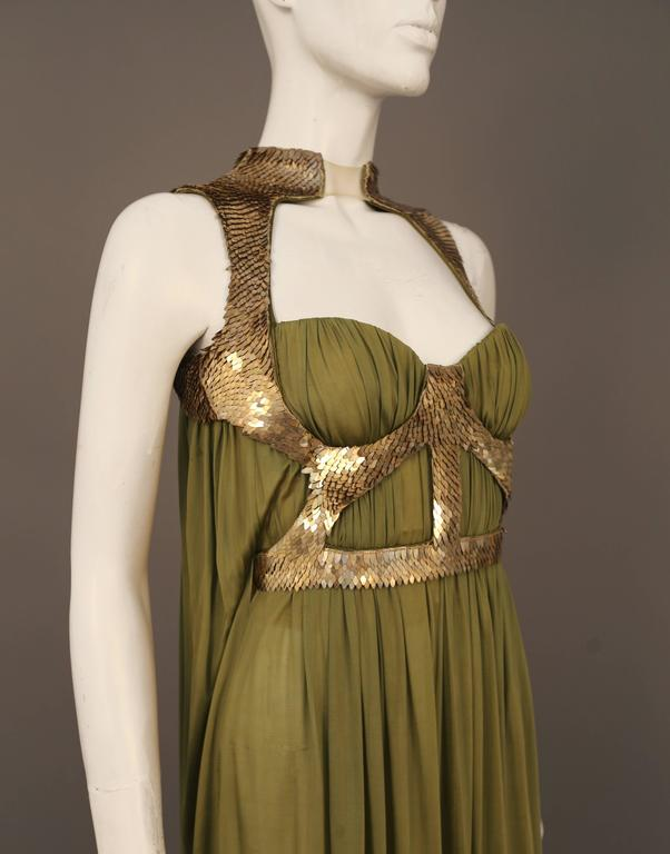 Alexander McQueen olive green evening dress with metal scale harness, SS 2007 4