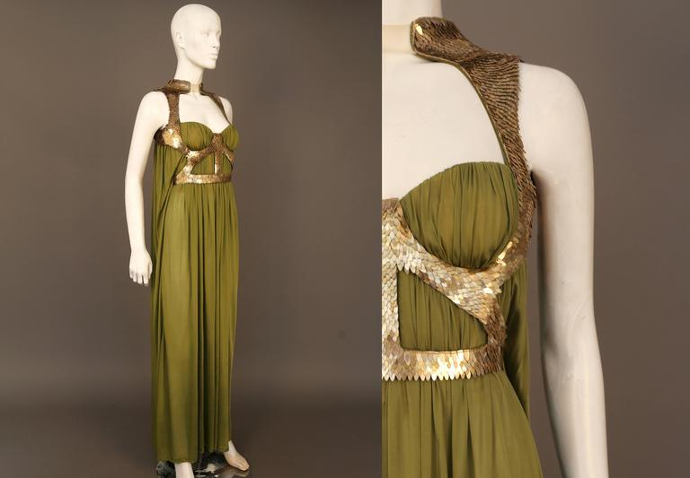 Alexander McQueen olive green evening dress with metal scale harness, SS 2007 2