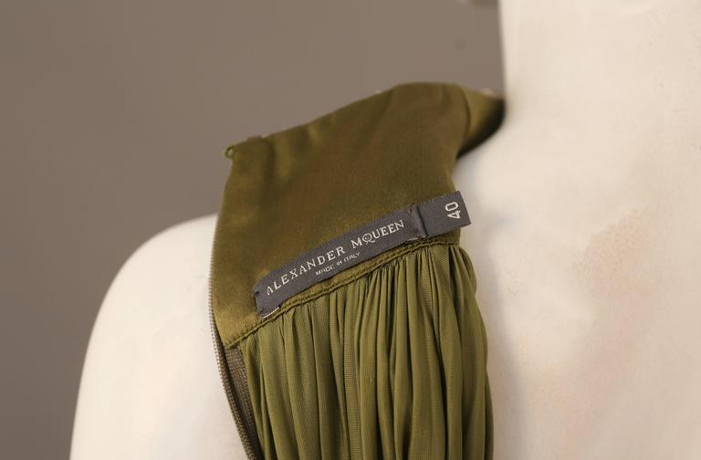 Alexander McQueen olive green evening dress with metal scale harness, SS 2007 7