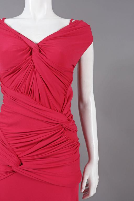 Red Donna Karan knotted jersey evening dress, C. 2005 For Sale