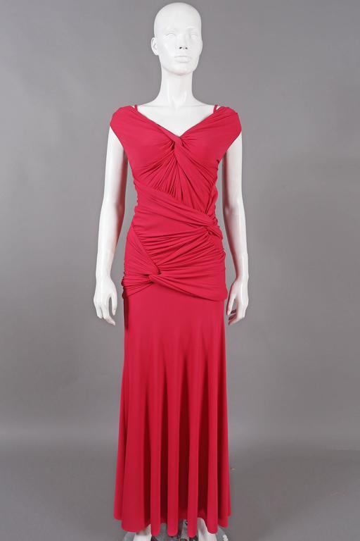 Women's Donna Karan knotted jersey evening dress, C. 2005 For Sale