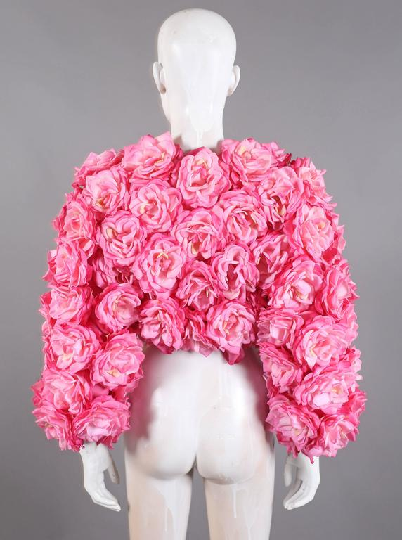 Pink Oversized bolero jacket adorned in real touch pink roses For Sale