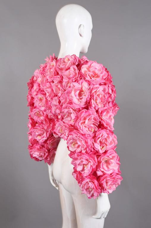 Oversized bolero jacket adorned in real touch pink roses In Excellent Condition For Sale In London, GB