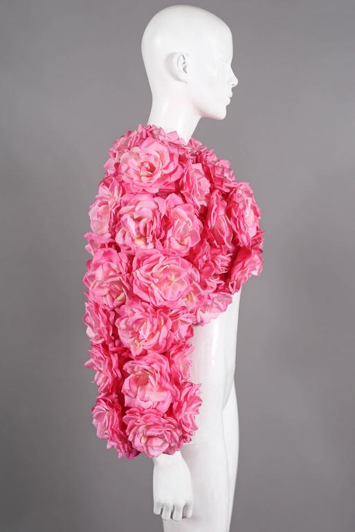Oversized bolero jacket adorned in real touch pink roses For Sale 1