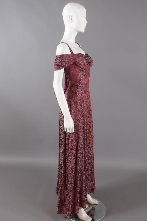 Bias cut off-the-shoulder lamé silk evening dress, C. 1930s 5
