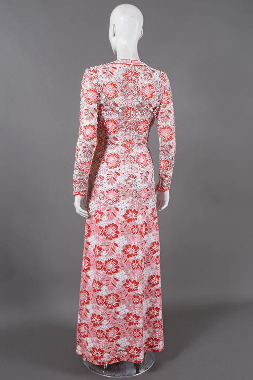 Harry Algo haute couture embellished lace coral evening dress, C. 1960s 4