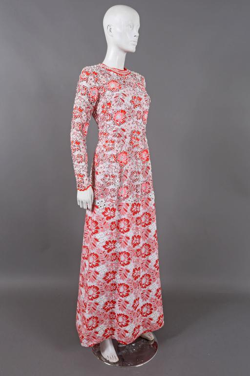 Harry Algo haute couture embellished lace coral evening dress, C. 1960s 2