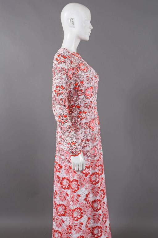 Harry Algo haute couture embellished lace coral evening dress, C. 1960s 5