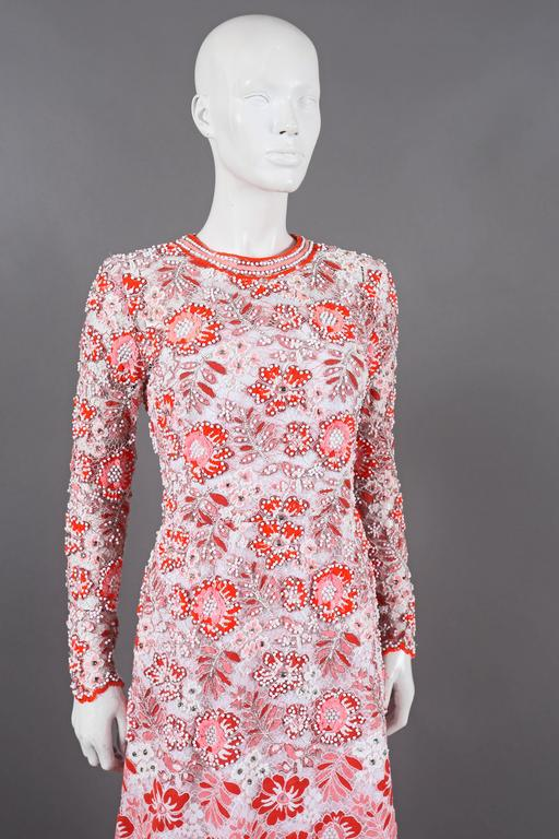 Harry Algo haute couture embellished lace coral evening dress, C. 1960s 6