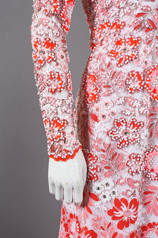 Harry Algo haute couture embellished lace coral evening dress, C. 1960s 3