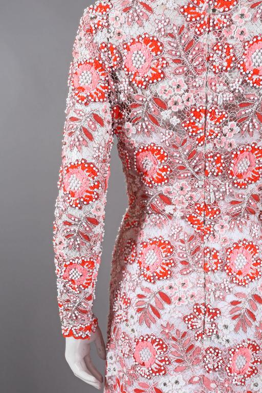 Harry Algo haute couture embellished lace coral evening dress, C. 1960s 7