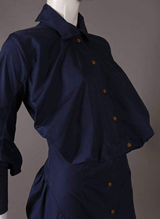 Black Vivienne Westwood bustle shirt dress, C. 1990s For Sale