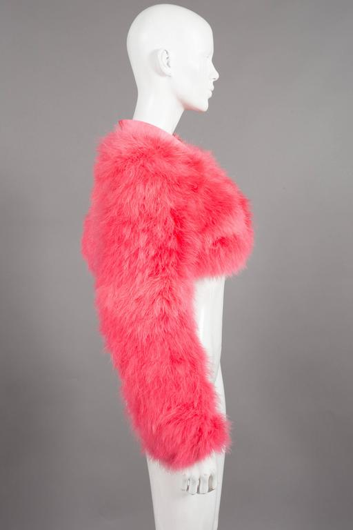 Gucci by Tom Ford hot pink marabou evening bolero jacket, C. 2004 In Excellent Condition For Sale In London, GB