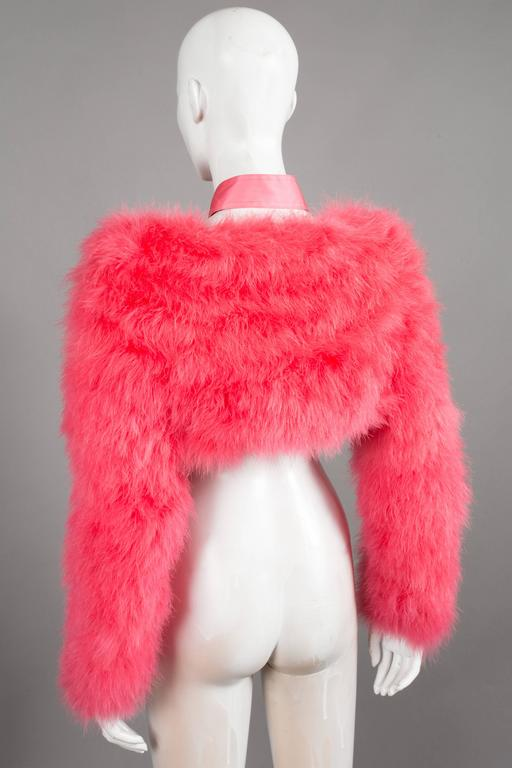 Women's Gucci by Tom Ford hot pink marabou evening bolero jacket, C. 2004 For Sale