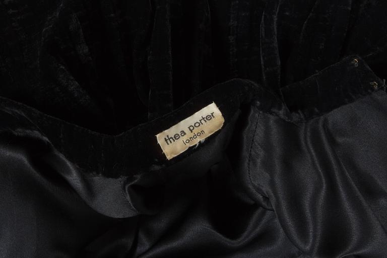 Thea Porter Pleated Black Silk-Velvet Tiered Evening Cape Coat, C. 1970 7