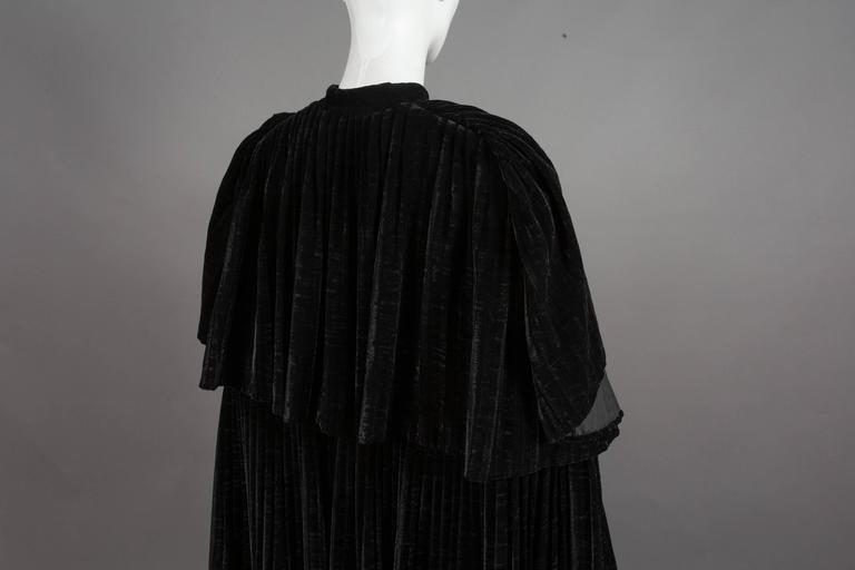 Thea Porter Pleated Black Silk-Velvet Tiered Evening Cape Coat, C. 1970 5