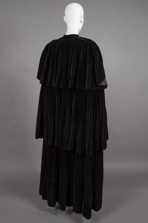 Thea Porter Pleated Black Silk-Velvet Tiered Evening Cape Coat, C. 1970 4